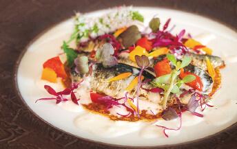 イワシの香草マリネのポワレ 北海道ポテトの クレープとロビオーラチーズのソース添え