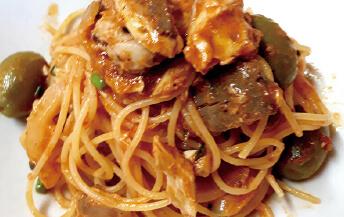 スパゲティ<br>ブリ、アンチョビ、オリーブのブッタネスカ風