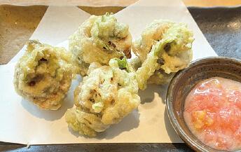梅巻きいわしの天ぷら蕎麦