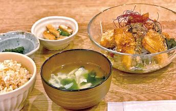 ブリの竜田揚げ(ネギダレ)定食