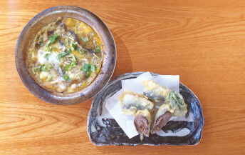 梅シソ天ぷらと蒲焼きの柳川
